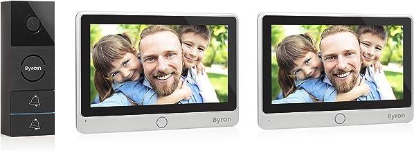 Byron DIC-24122 Video Deurbel voor 2 appartementen – 2-draads met 2-weg audiocommunicatie - Touchscreen, Zilver