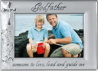 Malden International Designs Godfather with Cross Picture Frame, 4x6, Silver
