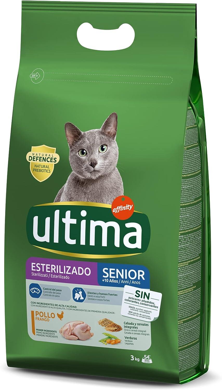 Ultima Pienso para Gatos Esterilizados Senior + de 10 Años con Pollo - 3 kg