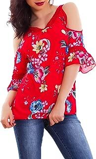 Maglia donna maglietta pizzo schiena maniche 3//4 bottone ampia nuova AS-10211