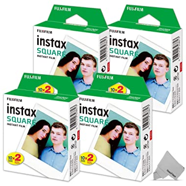 FujiFilm Instax Square Instant Film 4 Twin Pack of 80 Photo Sheets - Compatible with FujiFilm Instax Square SQ6, SQ10 and SQ20 Instant Cameras