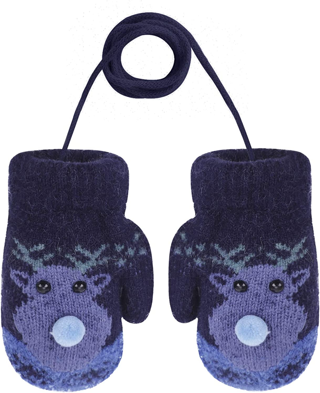 Kids Winter Warm Fleece Liner Christmas Elk Gloves Outdoor Camping Knit Gloves
