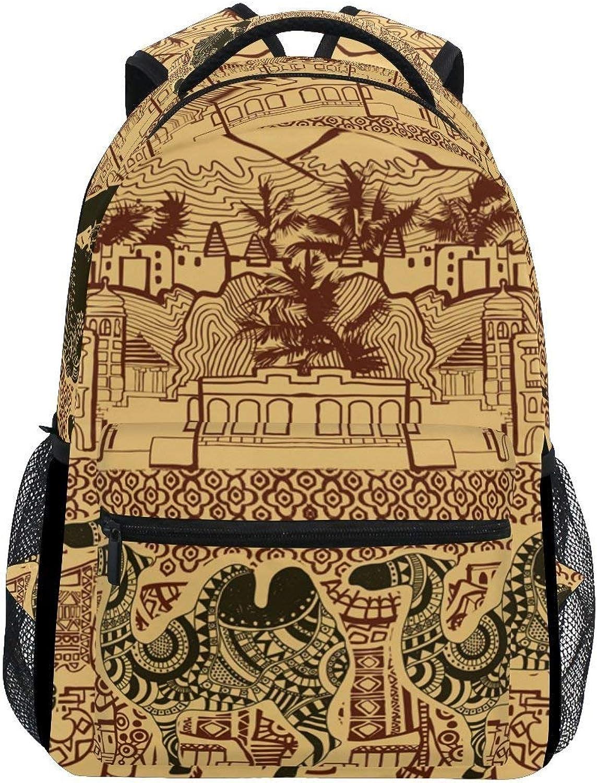 Cartoon Backpack Backpack Backpack Backpack School Bag Laptop Travel Bags for Kids Boys Girls Women Men Vintage Ethnic Bohemian Women Lotus Camel 188c76