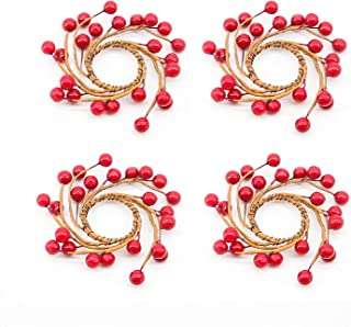 GiveU Berry Candle Rings for Taper Candle Hodler, Red Small Wreaths for Candle Sticks,Wedding Centerpiece or Christmas Table Decoration, Fits 3/4 Inch Diameter Candles - Set of 4