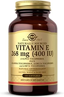 Solgar Vitamin E 268 MG (400 IU) Mixed (d-Alpha Tocopherol & Mixed Tocopherols), 100 Softgels - Supports Immune System & S...