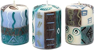 Global Crafts Set of Three Boxed Hand-Painted Candles - Maji Africa Design - Nobunto Candles