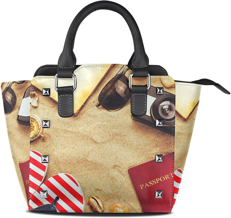 My Little Nest Women's Top Handle Satchel Handbag Summer Sandy Beach Ladies PU Leather Shoulder Bag Crossbody Bag