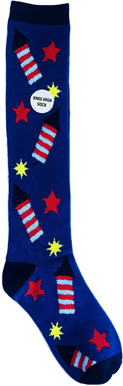 Americana Fire Cracker Patriotic Themed Knee High Novelty Socks