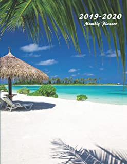 2019-2020 Monthly Planner: Large Two Year Planner (Tropical Beach)