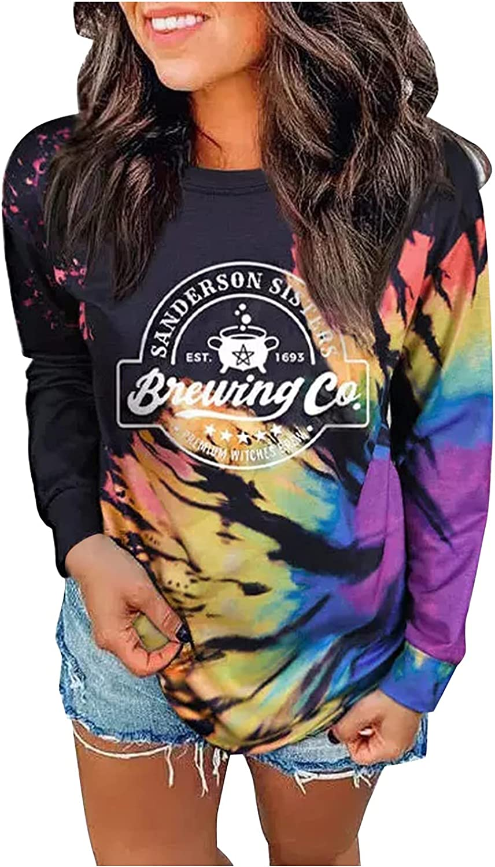 Pandaie Popular product Tie Dye Shirts for Women Funny Popularity Sweatshirts Print Casual