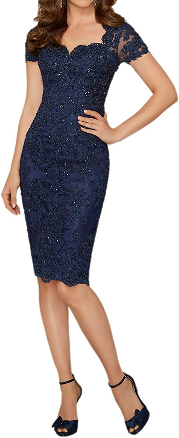 GMAR Beaded Appliques Evening Dresses Short Sleeves Mother of the Bride Dress