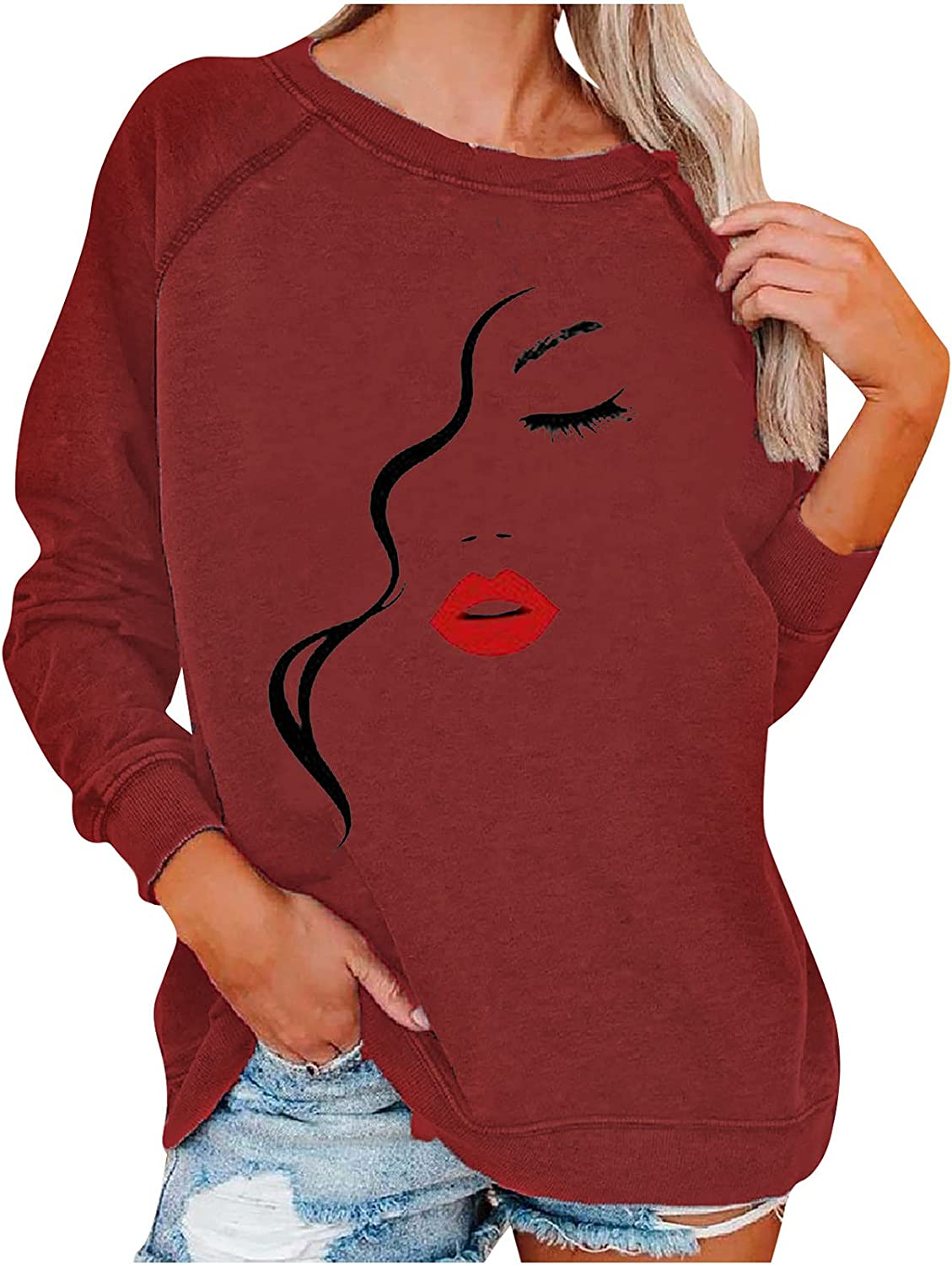 Womens Fashion Crewneck Sweatshirts Sleeve Shipping included Credence Pullover Long Casual
