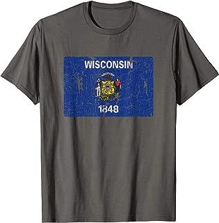 Vintage Wisconsin Flag Men Women Kids Retro WI Souvenir Gift T-Shirt