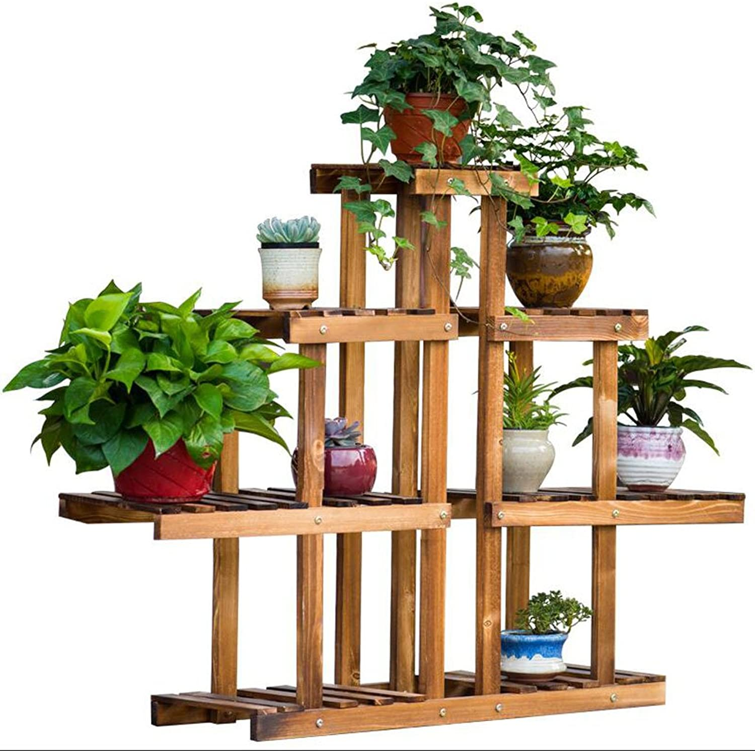 Flower stand Wooden flower stand Multilayer Indoor Balcony flower stand Multi-Purpose Rack Three-Dimensional flower stand