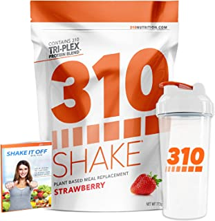 Strawberry Meal Replacement | 310 Shake Protein Powder is Gluten and Dairy Free, Soy Protein and Sugar Free | Includes Clear 310 Shaker and Free Recipe eBook (Digital) | 28 Servings