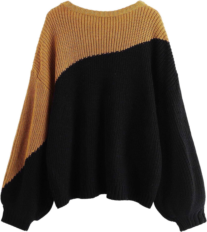 Milumia Women Color Block Drop Shoulder Textured Jumper Casual Sweater