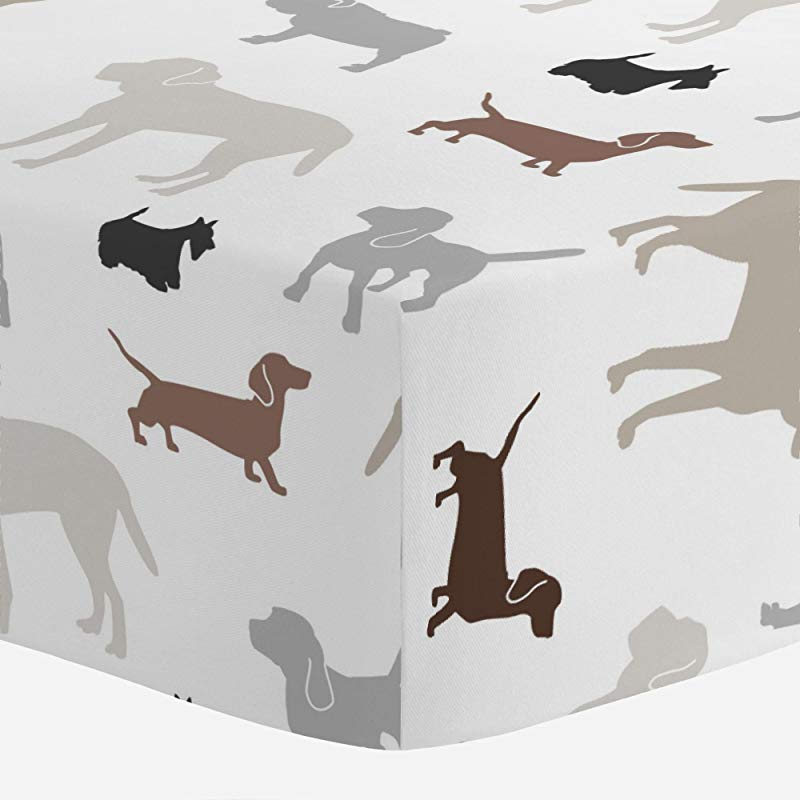 Carousel Designs Brown And Gray Dogs Crib Sheet Organic 100 Cotton Fitted Crib Sheet Made In The USA