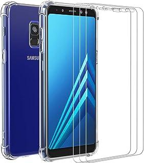ivoler Funda para Samsung Galaxy A8 2018 + [3 Unidades] Cristal Vidrio Templado Protector de Pantalla, Ultra Fina Silicona Transparente TPU Carcasa Protector Airbag Anti-Choque Anti-arañazos Caso