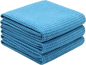 Mia'sDream Microfiber Car Drying Wash Cleaning Towels Super Absorbent Scratch-Free Effective Auto Detailing Towels Waffle Weave Towels for Cars Cleaning Cloth Rags 16Inch x 24Inch 3 Pack Blue