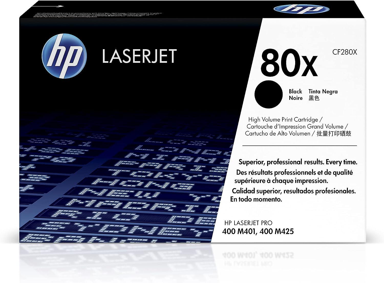 HP 80X | CF280X | Toner-Cartridge | Black | Works with HP LaserJet Pro 400 Printer M401 series, M425dn | High Yield