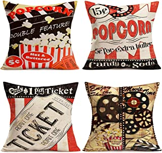 Hopyeer Home Decorative Throw Pillow Covers Popcorn Movie Theme Cotton Linen Vintage Clapper Board CinemaTicket FilmProjector Cushion Case Cover for Sofa Bed Relaxation Gift 18