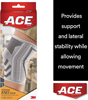 ACE Knitted Knee Brace with Side Stabilizers, Large, America's Most Trusted Brand of Braces and Supports, Money Back Satisfaction Guarantee