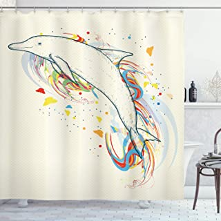 Ambesonne Modern Shower Curtain, Dolphin Fish with Rainbow Colors Adventure Ocean Animal Illustration, Cloth Fabric Bathroom Decor Set with Hooks, 84