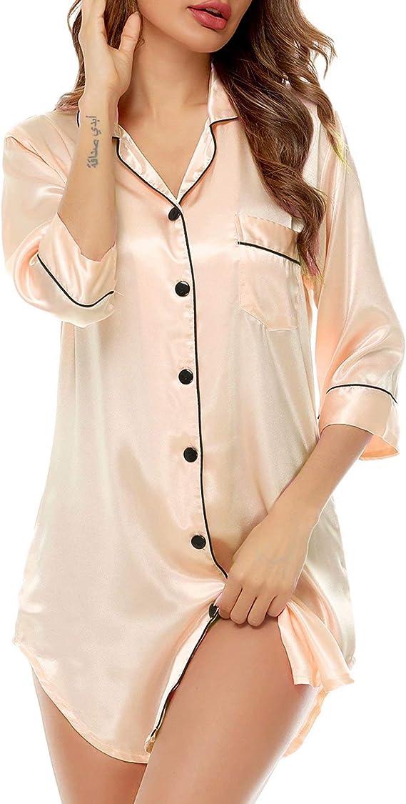 1940s Sleepwear: Nightgowns, Pajamas, Robes, Bed Jackets SWOMOG Womens Satin Nightgown 3/4 Sleeve Sleepwear Button Down Sleep Shirt Silk Nighty Pajama Top  AT vintagedancer.com