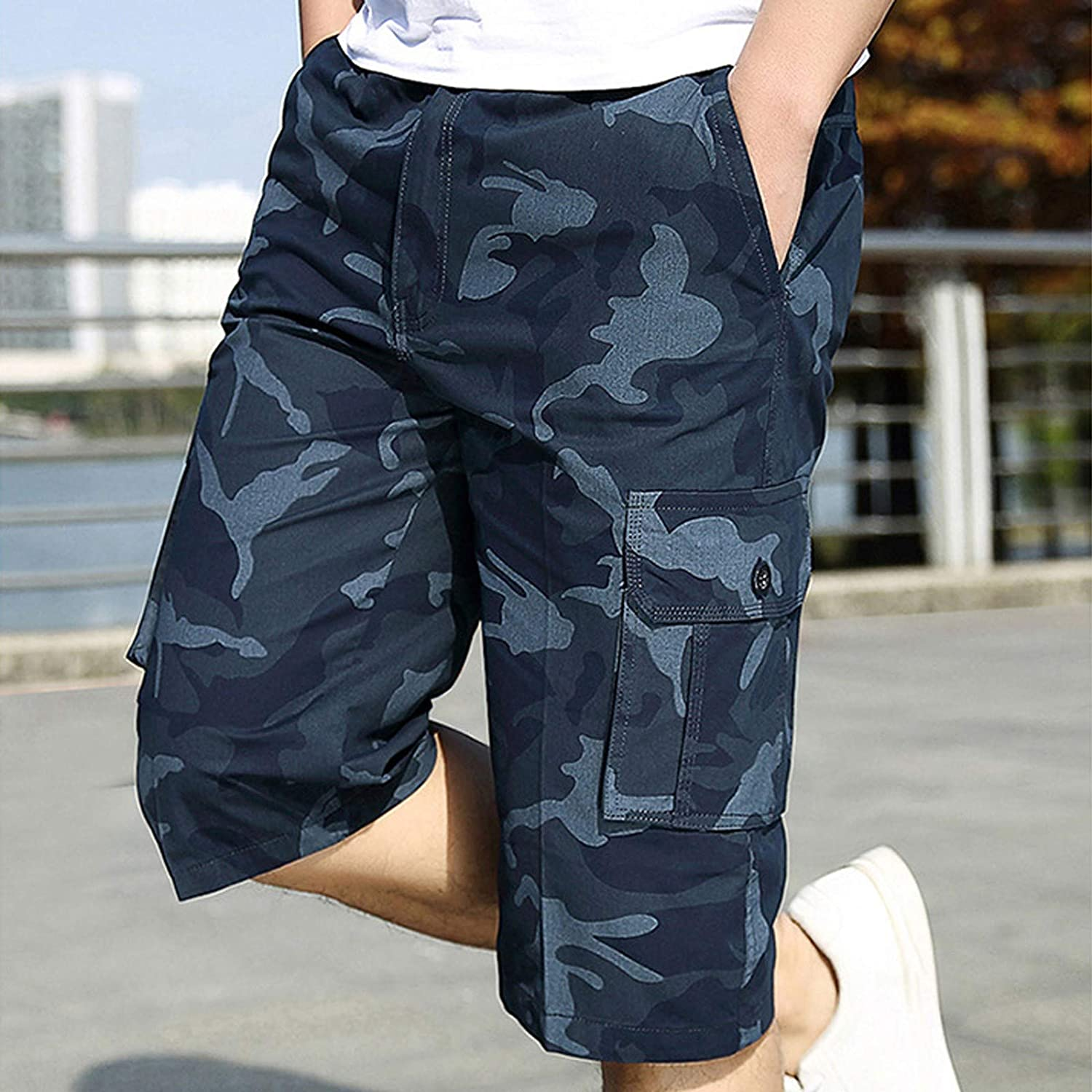 Yhjh 2021 Mens Messenger Short Camouflage Printed Pocket Summer Casual Handsome Fashion Outdoor Below Knee Cargo Shorts