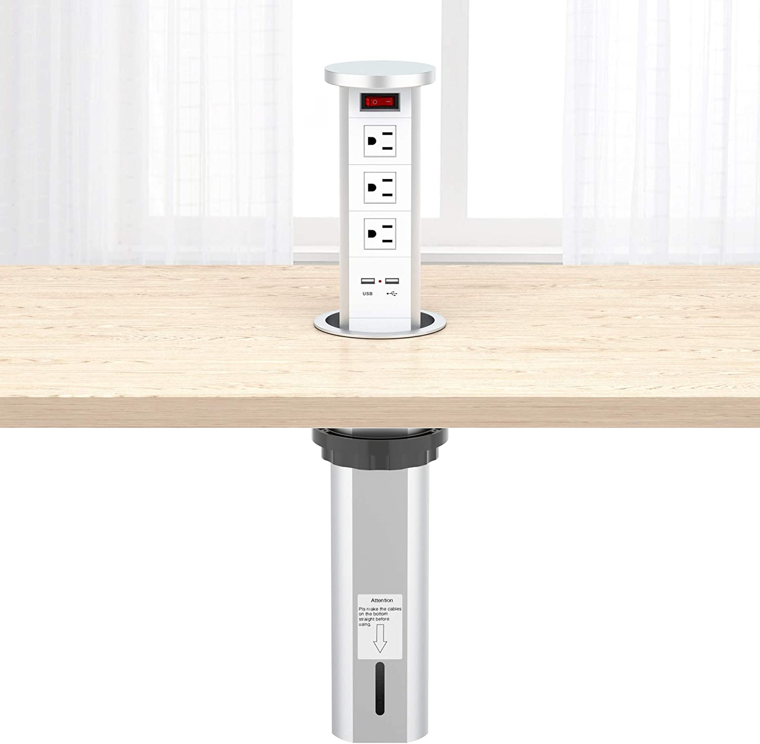 Buy Automatic Raising Type Surge Protector Pop Up Outlet Retractable Hidden Recessed Power Strip Power Socket With 2 Usb Charging Stations And 3 Ac Plug For Kitchen Island Counter Top Conference Table Online