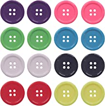 YAKA 80Pcs 1inch(25mm) Sewing Resin Buttons Round Shape 4 Holes Craft Buttons for Sewing Scrapbooking and DIY Craft Multic...
