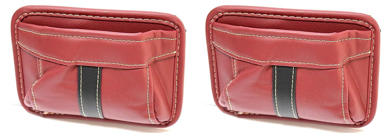 車 汎用 収納BOX 収納箱 ポケット 後席 ゴミ箱 デスク 収納ポケット 簡単3Mシール貼り付け スマホ タバコ便利ケース (C茶ブラウン2個セット)