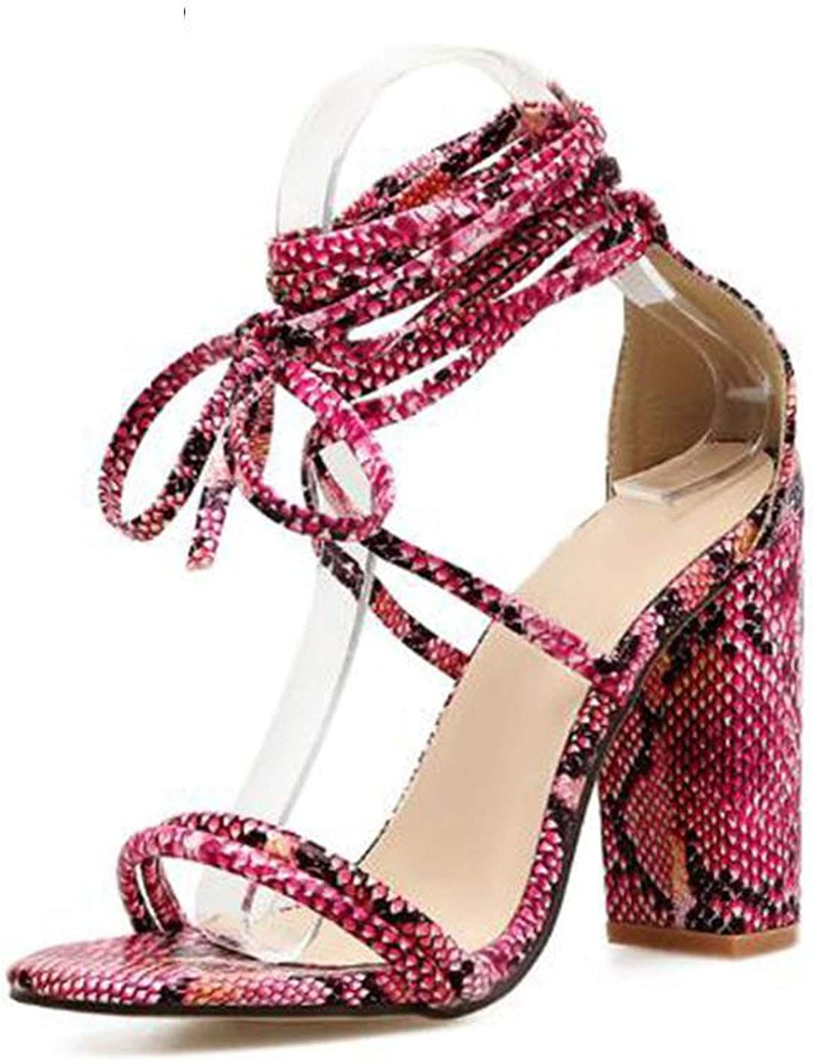 pink flowers Women Sandals High Heels Ladies Summer shoes Lace-up Cross-Tied Heeled Sandals Ladies Snake Print shoes