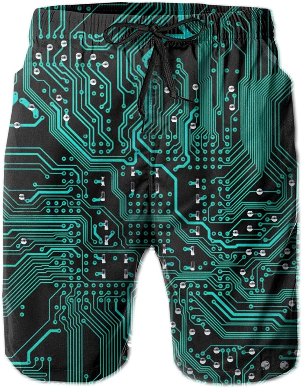 Nerd Close View of The Main Computer Circuit Board Men's Elastic Beach Shorts Lightweight Breathable Casual Mesh Lining Swimsuit Shorts with Pockets M-XXL