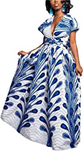 FEIYOUNG Women's Sexy Dashiki Floral Printed Side Slit Long Maxi Dresses Bohemian High Waist Vestidos