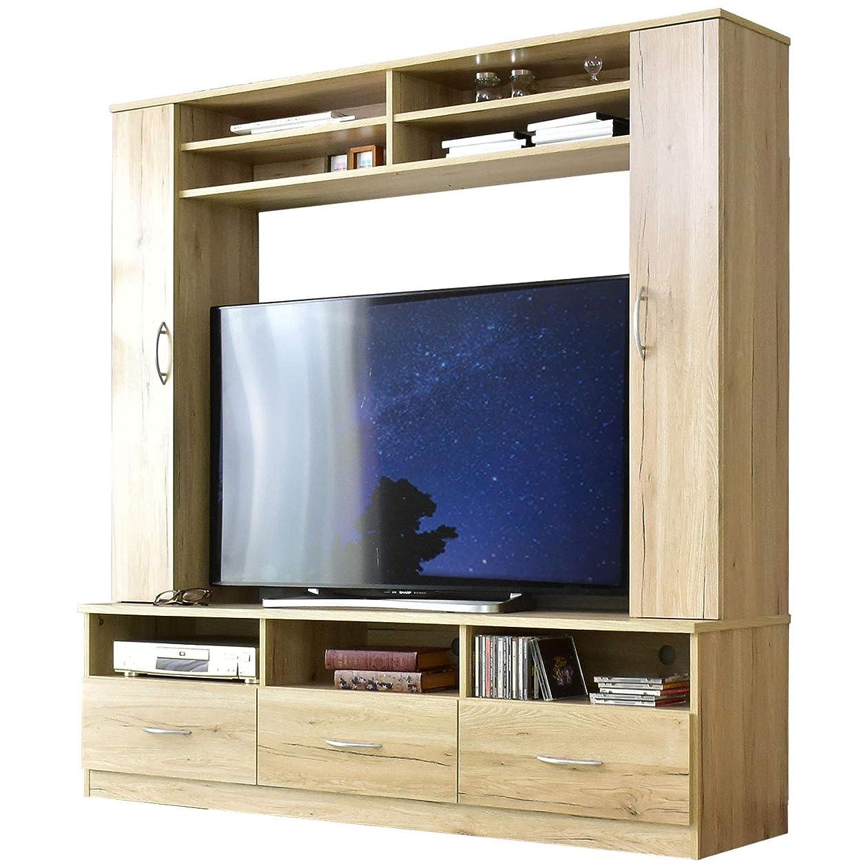 にもかかわらずそよ風批評DORIS テレビ台 壁面収納 一体型 幅160cm テレビボード TVボード 46型対応 壁面ユニット 引き出し オープン収納 扉収納 組立式 ナチュラル ヴァント