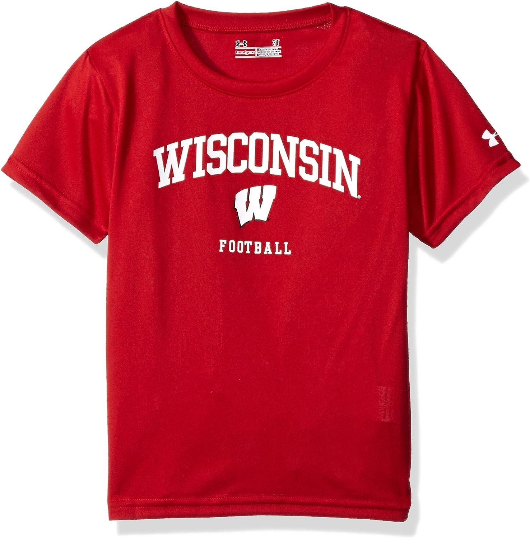 Red Under Armour NCAA Wisconsin Badgers Womens Tech V-Neck Tee Medium