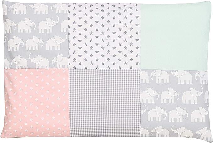 45 opinioni per Federa per guanciale per neonato ULLENBOOM ® 40x60, elefanti, verde menta, rosa