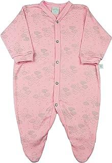 Macacão Bebê Suedine Estampado Nuvens Prata - Rosa M