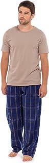 Tom Franks Mens Fleece Check Long Pyjamas