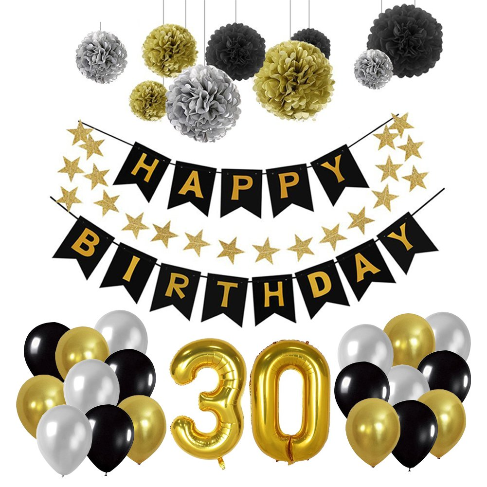 Toupons 20th Birthday Party Decorations Kit, Happy Birthday Banner ...