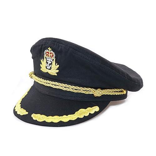 4d22f7390ce Ibeauti Unisex Adjustable Captain Costume Admiral Hat Cosplay Black Sailor  Cap ( Black )