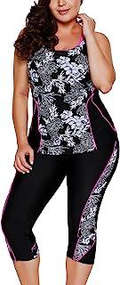 JooMeryer Womens Floral Printed Racerback Tankini Swimsuits with Swim Capris M-XXXXXL Plus Size