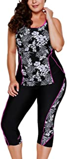 AlvaQ Women's Plus Size Two Picec Swimsuits Tank Floral Tankini with Capris Bottom(M-3XL)