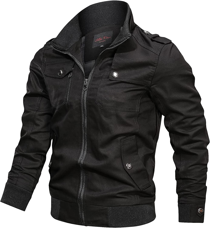 Men's Windbreakers Lightweight Casual Solid Color Flight Bomber Jackets Windproof Hipster Softshell Zipper Sports Coats