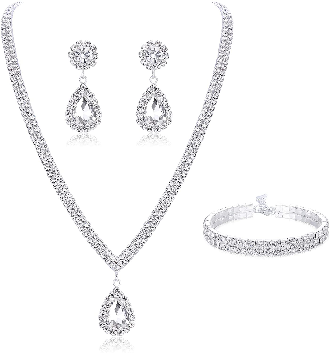 Subiceto Bridal Jewelry Set for Wedding Simple Necklace Teardrop Dangle Earrings Bracelets Crystal Prom Bridal Bridesmaid Tennis Jewelry Set