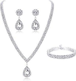 ست جواهرات عروس Subiceto برای عروسی گردنبند ساده گوشواره آویز گوشواره آویز دستبند کریستال ساقدوش عروس