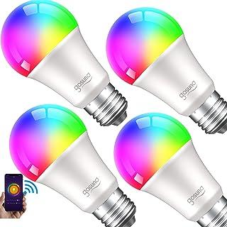 لامپ هوشمند Gosund LED RGB لامپ های تغییر رنگ که با الکسا Google Home ، لامپ چند رنگ E26 A19 8W کار می کند ، بدون توپی مورد نیاز است ، فقط 2.4 گیگاهرتز ، 4 بسته