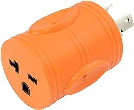 AC WORKS NEMA L6-30P 30Amp 250Volt Locking Plug to NEMA 6-15/20R 15/20Amp 250Volt Female Connector Adapter (Orange)