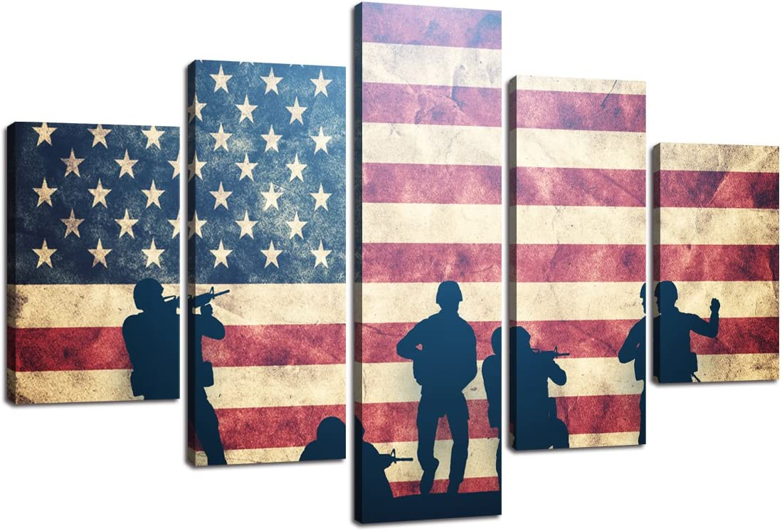 USA Sale price Wall Pictures for Living Room American Factory outlet Flag Canvas Vin Print